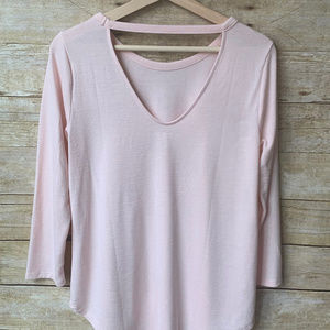 LOFT Blush Pink Cut out Back Soft Long Sleeve - S